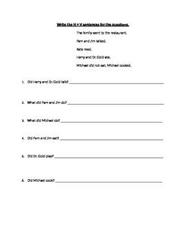Subject Verb Sentences
