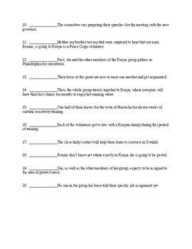 Subject-Verb and Pronoun-Antecedent Agreement Test with Key - CCSS Aligned