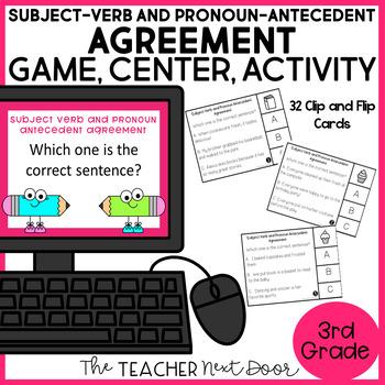 Subject - Verb and Pronoun - Antecedent Clip and Flip Game Center