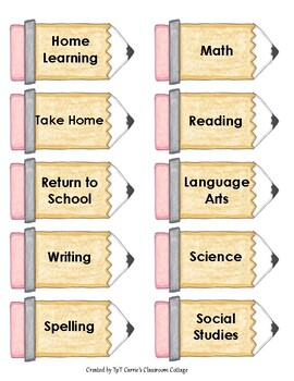 Subject Work Folder - Pencil Labels
