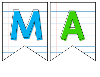 Subject and Beginning of the Year Lined Paper Banners -Larger Version