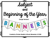Subject and Beginning of the Year Lined Paper Banners -Lar