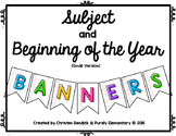 Subject and Beginning of the Year Lined Paper Banners - Smaller Version