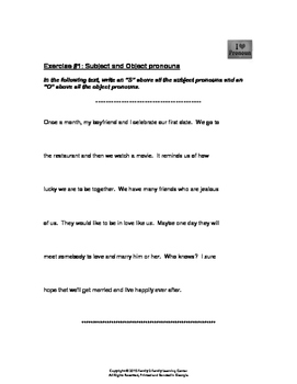 Subject and Object Pronoun