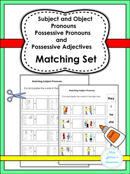 Subject and Object Pronouns , Possessive Pronouns and Adjectives Matching Set