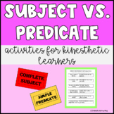 Subject and Predicate Activities for Kinesthetic & Active