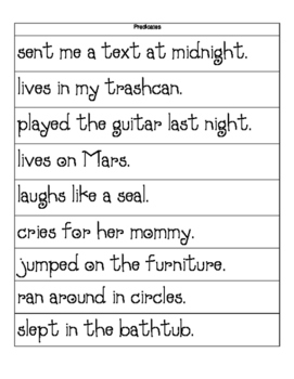 Subject and Predicate Activity Strips