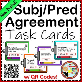 Subject and Predicate Agreement Task Cards w/ QR Codes!