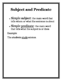 Subject and Predicate Anchor Chart