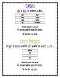 Subject and Predicate Anchor Chart and Worksheet