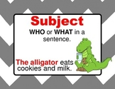 Subject and Predicate Anchor Charts