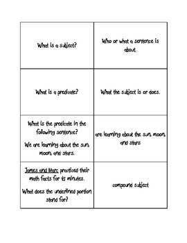Subject and Predicate Cards