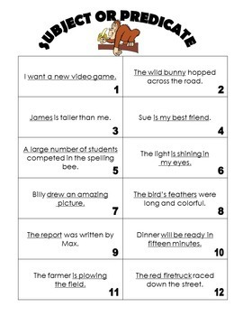Subject and Predicate Game and Activity