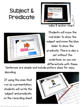 Subject and Predicate Digital Task Cards - Paperless for Google Use