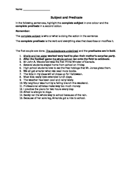 Subject and Predicate Exercise