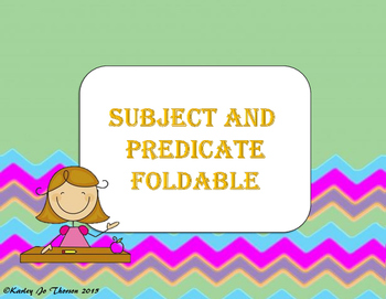 Subject and Predicate Foldable