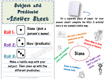 Subject and Predicate Game: Roll and Write (Parts of a Sentence)