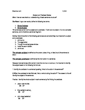 Subject and Predicate Grammar Lesson (includes homework assignment)