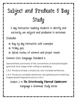 Subject and Predicate Grammar Unit