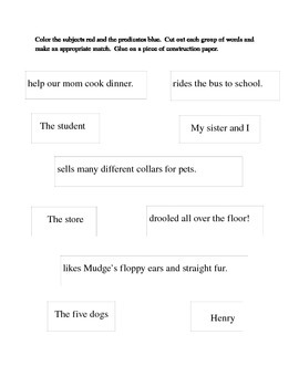 Subject and Predicate: Henry and Mudge
