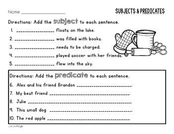 ELA - Subject and Predicate - Mini Lesson