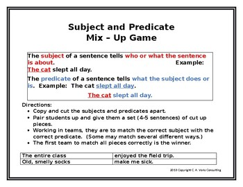 Subject and Predicate Mix-Up Game