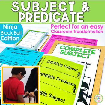 Subject and Predicate (Ninja Edition) Unit Posters Task Cards Quiz