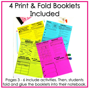 """Subject and Predicate """"No Cut"""" Fold and Go Interactive Notebook Resource"""