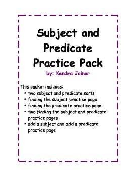 Subject and Predicate Packet