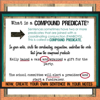Parts of a Sentence: SUBJECT & PREDICATE (Notes, PowerPoint, & Activity)