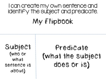 Subject and Predicate Poster and Activity