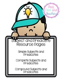 Subject and Predicate Posters (Simple, Complete and Compound)