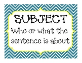 Subject and Predicate Posters, Word Card Activities, and Worksheets