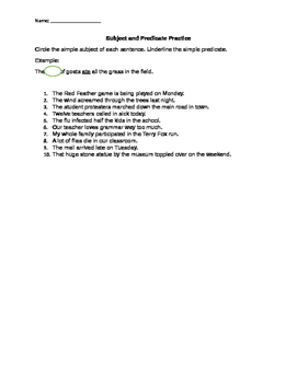 Subject and Predicate Practice