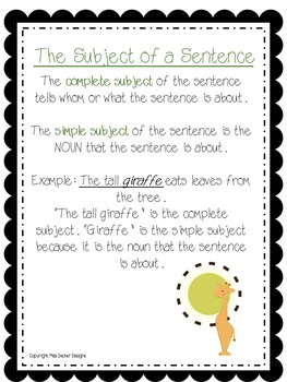 Subject and Predicate Practice - GIRAFFE THEMED