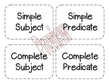 Subject and Predicate Practice Sort