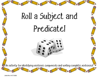 Subject and Predicate Print and Go Center!