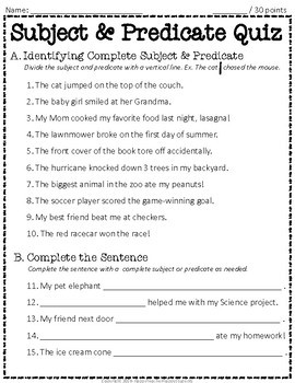 Subject and Predicate Test: 2-Page Complete Subject and ...