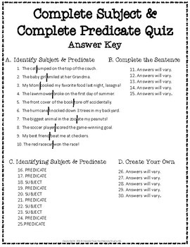 Subject and Predicate Test: 2-Page Complete Subject and Complete Predicate Quiz