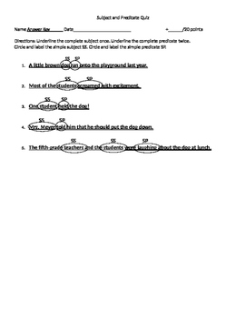 Subject and Predicate Quiz