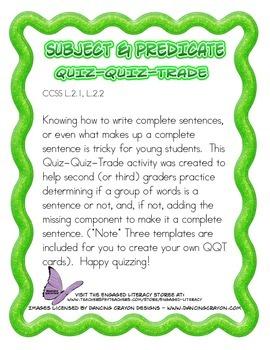 Subject and Predicate Quiz-Quiz-Trade
