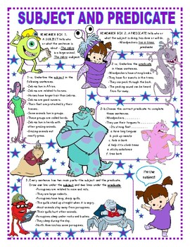 Subject and Predicate - Reference Box + Activities