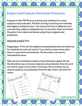 Subject and Predicate Review Activities and Worksheet