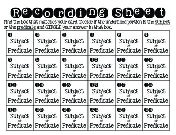 Subject and Predicate SCOOT