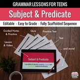 Subject and Predicate: Scaffolded Grammar Lesson, Quiz, & Test Set