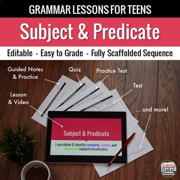 Subject and Predicate Unit: Grammar Lesson, Quiz, Test, & More