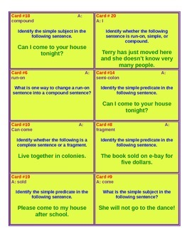Subject and Predicate Scavenger Hunt