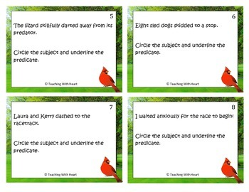 Subject and Predicate Scoot Activity/Task Cards (Upper Elementary)