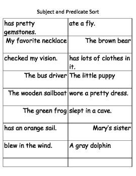 Subject and Predicate Sentence Sort