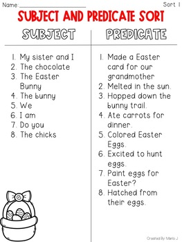 Subject and Predicate Sort Easter Themed